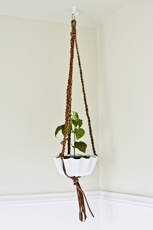Diy Braided Leather Hanging Plant Holder Diy In Pdx