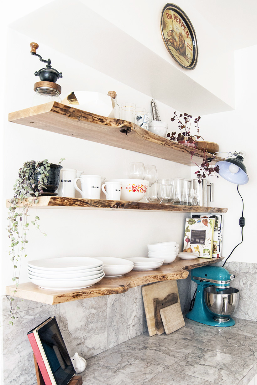 Kitchen progress live edge floating shelves diy in pdx Floating shelf ideas for kitchen