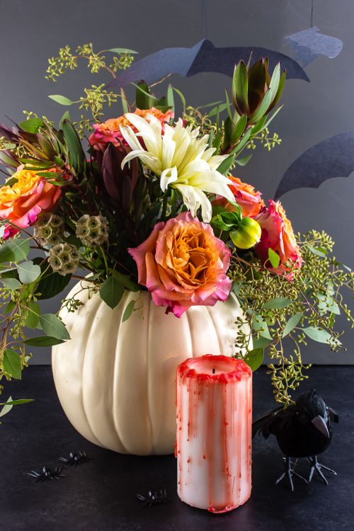 Halloween DIY decorations - Make a pumpkin planter/vase, blood-drip candle, and flock of bats